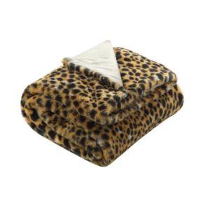 Cozy Tyme Cheetah Print Faux Rabbit Fur Throw - (50 x 60 Inch)