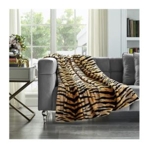 Cozy Tyme Tiger Print Faux Rabbit Fur Throw - (50 x 60 Inch)