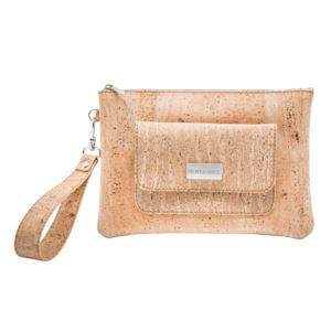 Bent&Bree Leia Cork Wristlet Clutch, Natural