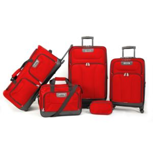 American Explorer - Drake 5 Piece Premium Luggage Set - True Red