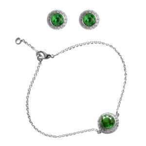 Emerald Halo Bracelet and Earring Set