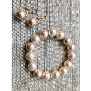 Faceted Peaches and Cream Bracelet and Earring Set