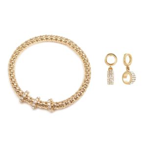 Woven Gold and Crystal Stretch Bracelet & Earring Set