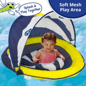 Swim School New Fish - Navy White Gold Baby boat with Canopy
