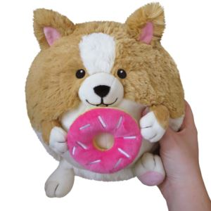 "7"" Mini Corgi Holding a Donut Squishable Plush Ages 3+ Yrs"