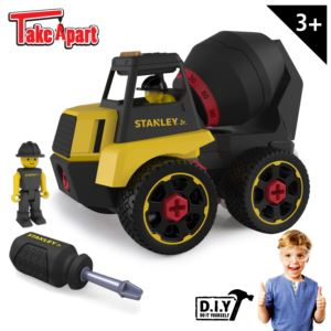 Stanley Jr. Take Apart Cement Mixer Kit for Kids - 23-Piece Yellow STEM Construction Toy Truck