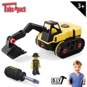Stanley Jr. Take Apart Excavator Kit for Kids - 25-Piece Yellow STEM Construction Toy Truck