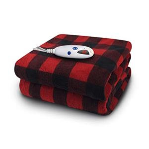 Electric Heated Micro plush Throw with Digital Control - (Red Black Buffalo Check)