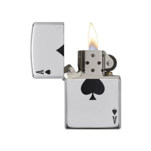 High Polish Chrome Lighter with Ace of Spades