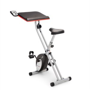 Marcy Foldable Exercise Bike with Built-in Laptop Table and LCD Display