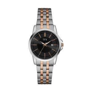 TFX by Bulova Ladies Two-Tone Stainless Steel Watch Black Dial