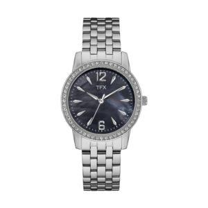 TFX by Bulova Ladies Crystal Steel Watch Black Mother-of-Pearl