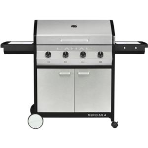 Meridian 4 Propane Gas BBQ Grill with 4 Burners, 2-Door Cart, and Side Tables, Stainless Steel