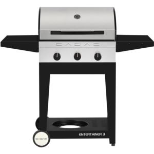 Entertainer 3 Propane Gas BBQ Grill with 3 Burners, plus Open Cart with Sides Tables and Tank Storag