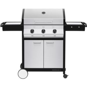 Meridian 3 Propane Gas BBQ Grill with 3 Burners, 2-Door Cart, and Side Tables, Stainless Steel