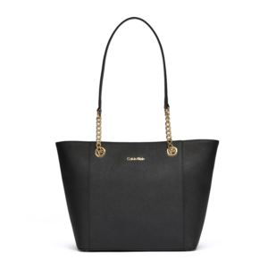 Hayden Saffiano Leather Tote - Black/Gold