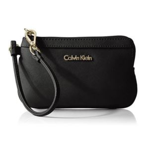 Saffiano Leather Wristlet - Black