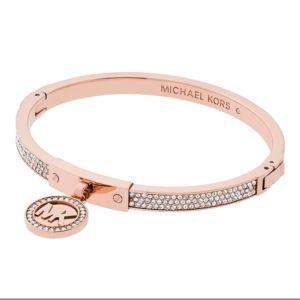 Pave Fulton Heritage Hinge Bangle Bracelet Rose Gold Tone