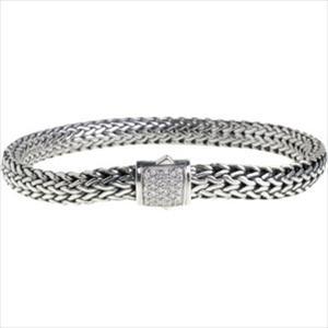Women's classic chain silver diamond pave