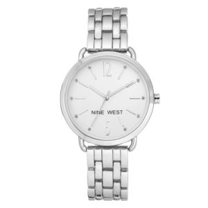 Women's Silver-tone Crystal Accented Watch