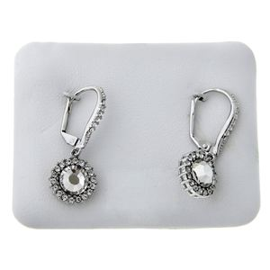 2.5 CTTW Round Pave Surr Lever CZ Earrings