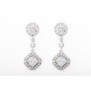 2.0 CTTW Round Pave Square CZ Drop Earrings