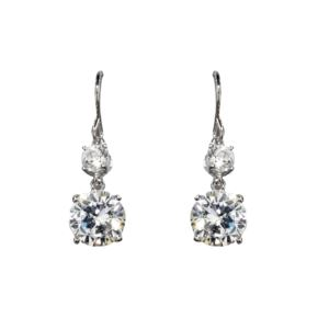 4.0 CTTW Round Double Drop CZ Fish Hook Earrings