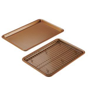 3-Piece Bakeware Set Copper - 2 Cookie Pans w/ Cooling Rack