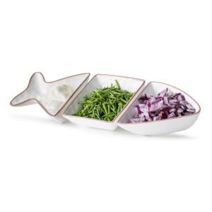 Fish shaped serving set, 3 pcs, white