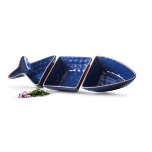 Fish shaped serving set, 3 pcs, blue
