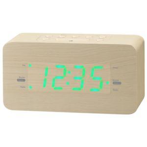 "Light Wood Dual Alarm FM Clock Radio 1.2"" Green LED"