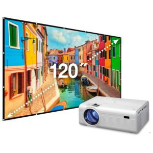 "Mini Projector with Bluetooth and 120"" Projection Screen"