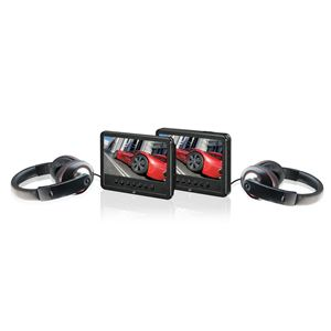"Portable DVD With Dual 7"" Screens and Headphone Bundle"