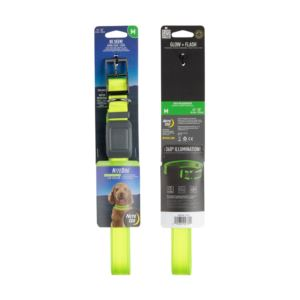 Nite Dog Rechargeable LED Collar - M/Lime