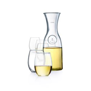 7pc Wine Carafe & Stemless Wine Glassware Set
