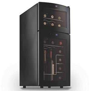 Wine Enthusiast Silent 21 Bottle Dual Zone Wine Refrigerator with Curved Door