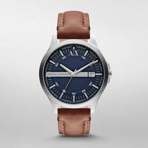 Men's Armani Exchange Street Navy Blue Dial, Brown Leather Strap Watch