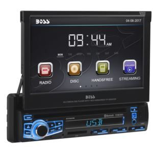 "7"" Motorized Touchscreen Single-DIN Multimedia Receiver w/ Bluetooth"