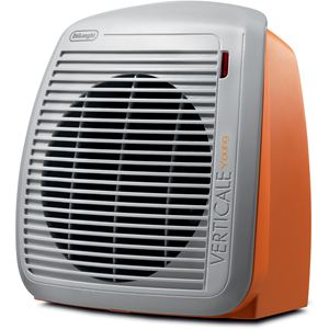 Upright Personal Fan Heater in Orange with Gray Faceplate