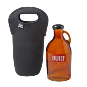 Glass Growler with Insulated Neopreane Tote - Black