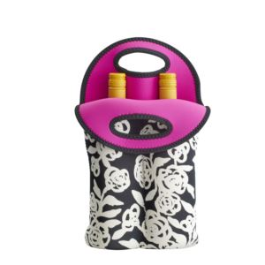 2-Bottle Neoprene Wine/Water Bottle Tote - Garden Rose