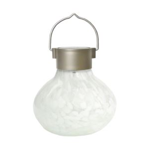 Solar Glass Tea Lantern - White-