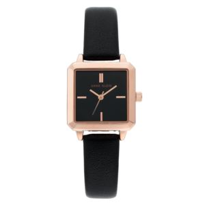 Women's Black Square Leather Watch