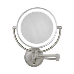 Cordless Dual LED Lighted Round Wall Mount Mirror 1X/10X