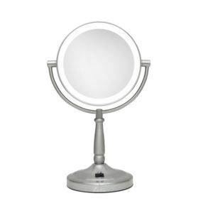 Cordless Dual-Sided LED Lighted Round Vanity Mirror 10X/1X