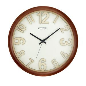 Citizen Walnut Finish Dimensional Wall Clock