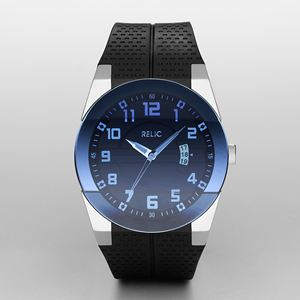 Mens Blue Dial Black Strap Watch