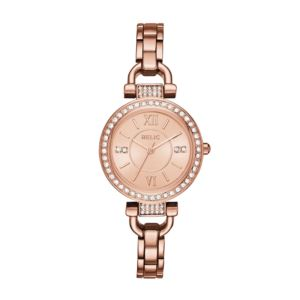 Women's Leah Rose Gold-Tone Stainless Steel Glitz Watch