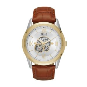 Mens Automatic Brown Strap Watch