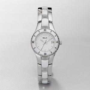 Relic Womens White Ceramic & Steel Dress Watch